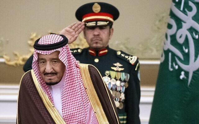 Saudi Arabia's King Salman attends the official welcome ceremony for Russian President Vladimir Putin in Riyadh, Saudi Arabia,, October 14, 2019. (AP Photo/Alexander Zemlianichenko, Pool)