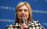 File: Former Secretary of State Hillary Clinton speaks, Wednesday, Oct. 30, 2019, at Georgetown Law's second annual Ruth Bader Ginsburg Lecture, in Washington. (AP Photo/Jacquelyn Martin)