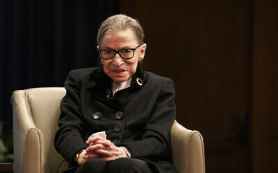 Supreme Court Justice Ruth Bader Ginsberg attends Georgetown Law's second annual Ruth Bader Ginsburg Lecture, in Washington, October 30, 2019. (Jacquelyn Martin/AP)