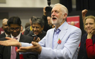 Britain's Labour Party leader Jeremy Corbyn attends a rally while on the campaign trail in Swindon, England, November 2, 2019. (Aaron Chown/PA via AP)