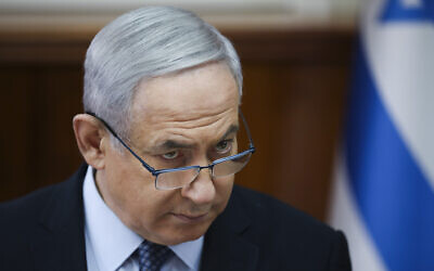 Prime Minister Benjamin Netanyahu, chairs the weekly cabinet meeting at the Prime Minister's office in Jerusalem, November 3, 2019. (AP Photo/Oded Balilty, pool)