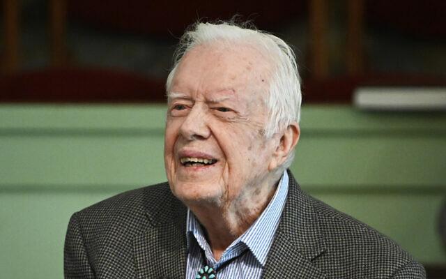 In this November 3, 2019, photo, former US President Jimmy Carter teaches Sunday school at Maranatha Baptist Church in Plains, Georgia. (AP Photo/John Amis)