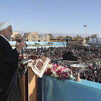 Iran's President Hassan Rouhani speaks at a public gathering in the city of Rafsanjan in Iran's southwest Kerman province, November 11, 2019. (Office of the Iranian Presidency via AP)