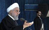 Iranian President Hassan Rouhani speaks at a public gathering in the city of Rafsanjan in Iran's southwest Kerman province, November 11, 2019. (Office of the Iranian Presidency via AP)