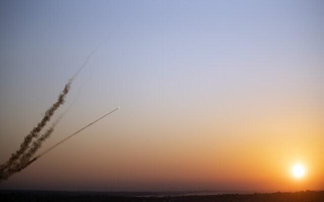 Rockets are launched from the Gaza Strip towards Israel, November 12, 2019. (Khalil Hamra/AP)