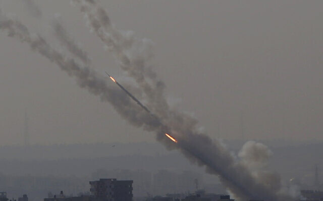Rockets are launched from Gaza Strip into Israel, November 12, 2019. (Hatem Moussa/AP)