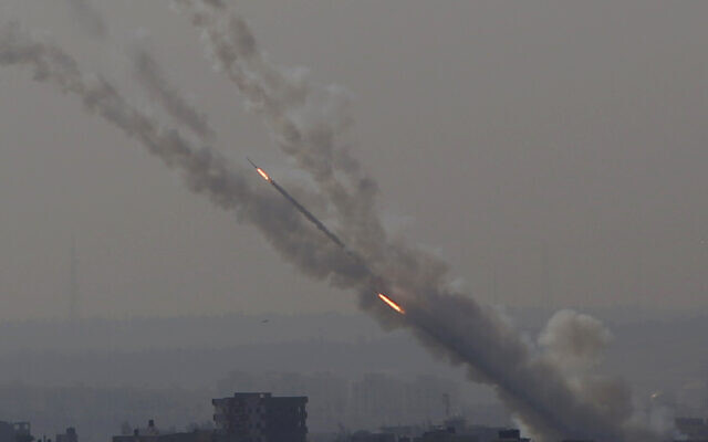 Rockets are launched from Gaza Strip to Israel, Tuesday, November 12, 2019. (AP Photo/Hatem Moussa)