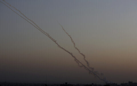 Rockets are launched from the Gaza Strip towards Israel, Wednesday, Nov. 13, 2019.(AP/ Hatem Moussa)