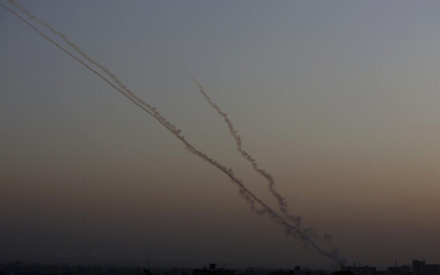 Rockets are launched from the Gaza Strip towards Israel, November 13, 2019. (AP/ Hatem Moussa)