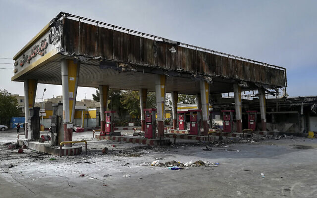 A gas station that was burned during protests that followed authorities' decision to raise gasoline prices, in Tehran, Iran, November 17, 2019. (Abdolvahed Mirzazadeh/ISNA via AP)