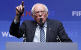 Democratic US presidential candidate Senator Bernie Sanders, a Vermont Independent, speaks during a fundraiser for the Nevada Democratic Party, in Las Vegas, November 17, 2019. (John Locher/AP)