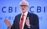 Labour leader Jeremy Corbyn speaks at the Confederation of British Industry (CBI) annual conference at the InterContinental Hotel in London, Monday, Nov. 18, 2019.  (Stefan Rousseau/PA via AP)