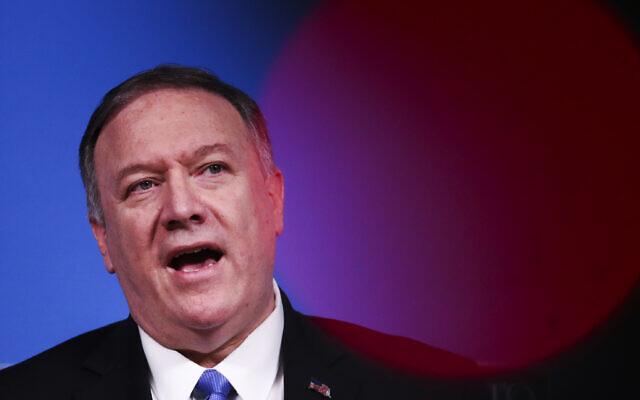US Secretary of State Mike Pompeo talks to journalists during a news conference during a NATO Foreign Ministers meeting at the NATO headquarters in Brussels, Wednesday, Nov. 20, 2019. (AP Photo/Francisco Seco)