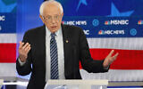 Democratic presidential candidate Sen. Bernie Sanders, I-Vt., speaks during a Democratic presidential primary debate, Wednesday, Nov. 20, 2019, in Atlanta. (AP Photo/John Bazemore)
