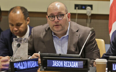 Washington Post journalist Jason Rezaian participates in a panel discussion on media freedom at United Nations headquarters,  September 25, 2019. (AP Photo/Seth Wenig, File)