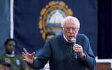 Democratic presidential candidate Sen. Bernie Sanders, Independent-Vermont, speaks during a campaign stop, in Franklin, New Hampshire, November 23, 2019. (Mary Schwalm/AP)