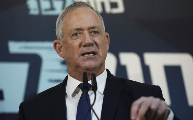 Blue and White party leader Benny Gantz gives a statement for media in Tel Aviv, Israel, Saturday, November 23, 2019. (AP Photo/Oded Balilty)