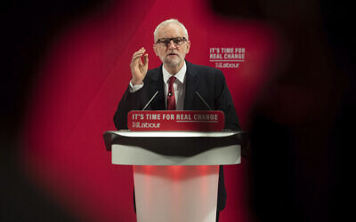Britain's main opposition Labour Party leader Jeremy Corbyn speaks at the launch of the Labour Party race and faith manifesto, in London, Tuesday Nov. 26, 2019. (Joe Giddens/PA via AP)