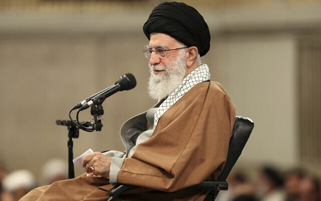 Supreme Leader Ayatollah Ali Khamenei speaks in a meeting with members of the Revolutionary Guard's all-volunteer Basij force in Tehran, Iran, November 27, 2019 (Office of the Iranian Supreme Leader via AP)