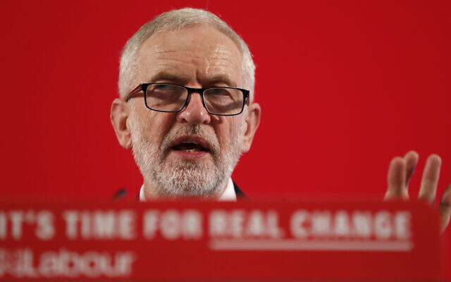 Britain's Labour party leader Jeremy Corbyn delivers a speech in London, England, November 27, 2019, ahead of the general election on December 12. (AP Photo/Frank Augstein)