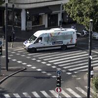 A public transport minibus drives through central Tel Aviv on Saturday, November 23, 2019. (Tsafrir Abayov/AP)