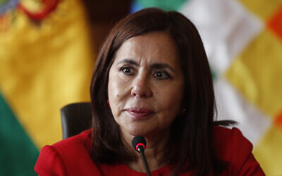 Bolivia's Foreign Minister Karen Longaric attends a press conference introducing the newly appointed ambassador to the United States, at the Foreign Ministry in La Paz, Bolivia, November 28, 2019. (AP Photo/Juan Karita)