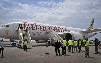 Illustrative -- an Ethiopian Airlines' Boeing 787 Dreamliner prepares to take off from Addis Ababa airport in Ethiopia, April 27, 2013 (AP Photo/Elias Asmare)