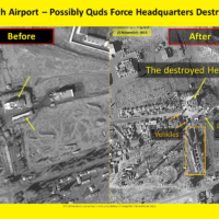 Satellite image showing the destruction caused by Israeli airstrikes to an alleged Iranian-controlled facility at the al-Mazzeh airport on November 20, 2019. (ImageSat International)