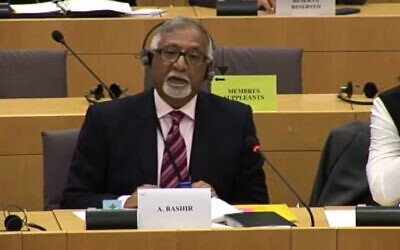 Screen capture from video of then-member of the European Parliament Amjad Bashir during a speech when he said rabbis in Israel 'brainwash' visiting UK Jewish men to make them into extremists.