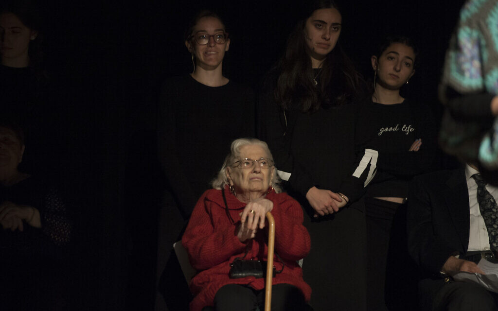 Holocaust survivor Claudine Barbot in the Witness Theater production, 'The Spirit of Hope,' a dramatization of the real-life stories of Holocaust survivors as portrayed by Yeshiva of Flatbush Joel Braverman High School on Sunday April 23, 2017. (Debbie Egan-Chin/New York Daily News)