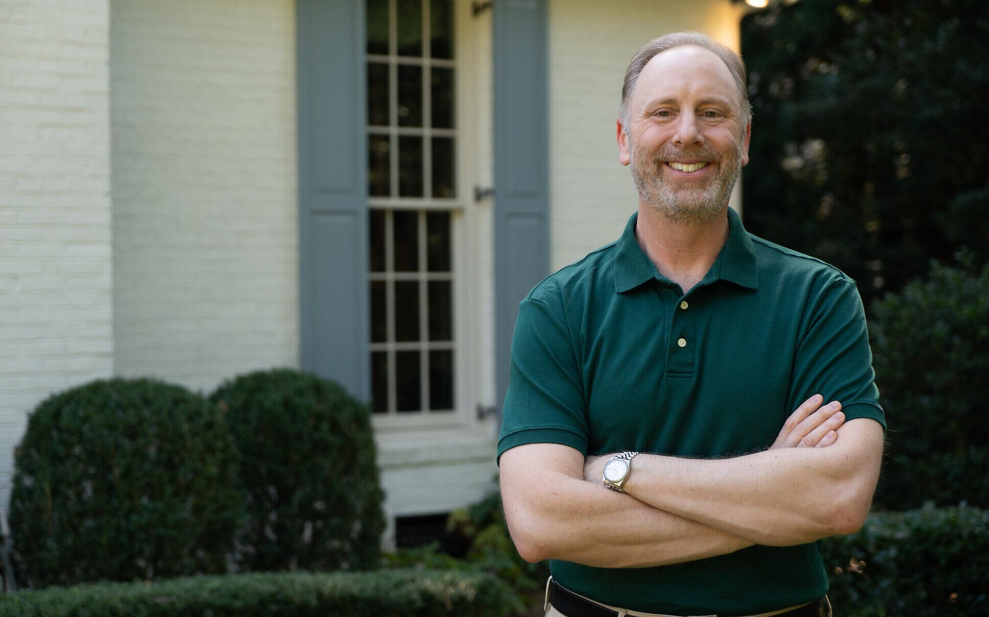 Georgia Democratic Senate candidate Matt Lieberman, son of former senator Joe Lieberman, stands in front of his home in Georgia (Courtesy)