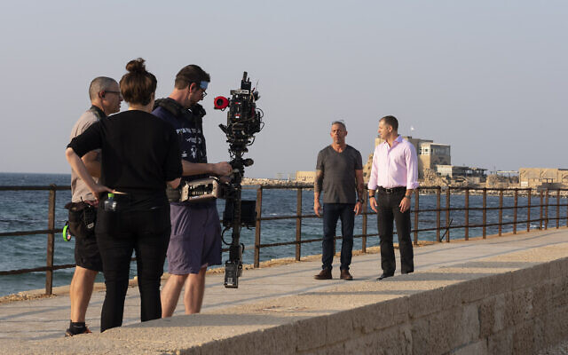 The TrueFeatures team filming in Caesarea National Park, with Joe Mullings, left, and Harel Gadot,  Executive Chairman and President of XACT Robotics Ltd.;  Nov. 5, 2019 (Paige Marogil)