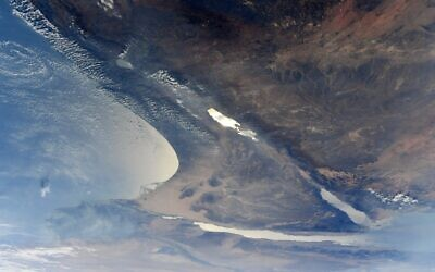 Israel as seen from space (Jessica Meir/NASA via Twitter)