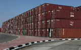 Shipping containers at the Haifa port, November 14, 2011. (Yaakov Naumi/Flash90)