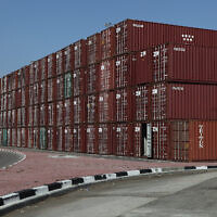 Shipping containers at the Haifa port, November 14, 2011. (Yaakov Naumi/Flash90)