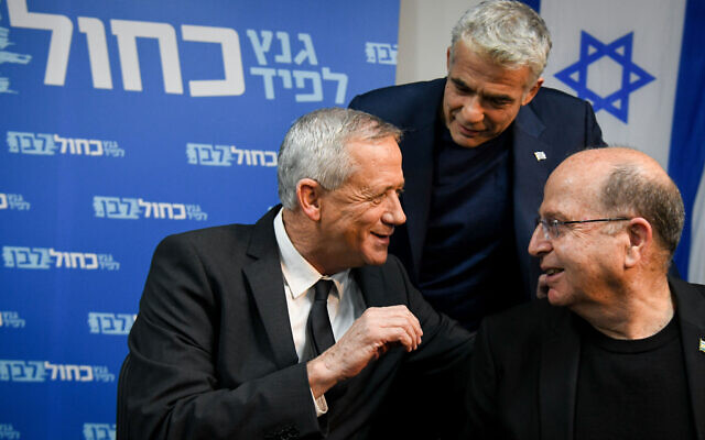 Members of the Blue White political party Benny Gantz (L), Moshe Yaalon and Yair Lapid hold a press conference at the party headquarters in Tel Aviv, on April 10, 2019. (Flash90)
