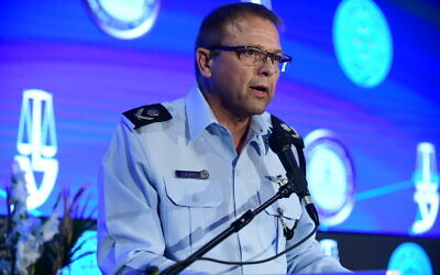 Acting Chief of Police Motti Cohen speaks at the annual Justice conference in Airport City, outside Tel Aviv on September 3, 2019. (Tomer Neuberg/Flash90)