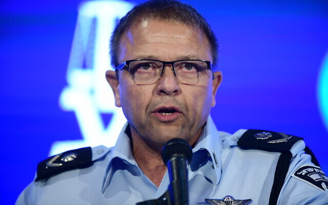 Acting Israel Police chief Motti Cohen speaks at the annual Justice Conference in Airport City, outside Tel Aviv, on September 3, 2019. (Tomer Neuberg/Flash90)