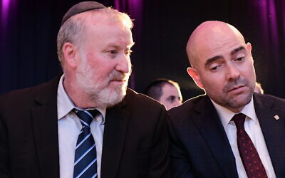 Attorney General Avichai Mandelblit (L) and Justice Minister Amir Ohana attend the annual Justice conference in Airport City, outside Tel Aviv on September 3, 2019. (Tomer Neuberg/ Flash90)