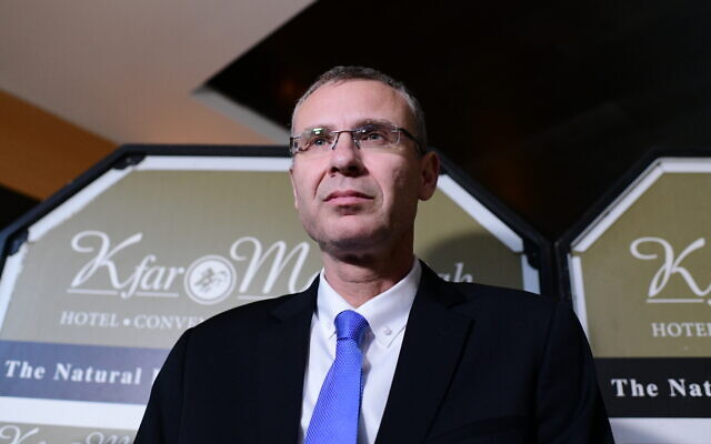 Tourism Minister Yariv Levin at the Kfar Maccabia Hotel in Ramat Gan, on October 27, 2019. (Tomer Neuberg/Flash90)