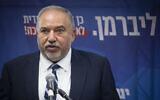 Yisrael Beytenu leader MK Avigdor Liberman speaks at a faction meeting at the Knesset in Jerusalem, on October 28, 2019. (Hadas Parush/Flash90)