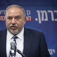 Yisrael Beytenu leader MK Avigdor Liberman speaks at a faction meeting at the Knesset in Jerusalem, on October 28, 2019. (Hadas Parush/Flash90)