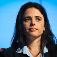 New Right MK Ayelet Shaked speaks during the Israel Social Cohesion Summit in Airport City on November 5, 2019. (Avshalom Shoshoni/Flash90)
