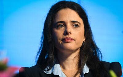 New Right MK Ayelet Shaked speaks during the Israel Social Cohesion Summit in Airport City on November 5, 2019. (Avshalom Shoshoni/Flash90)