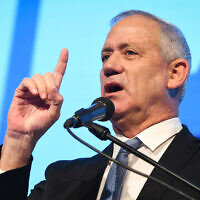 Blue and White Chairman Benny Gantz speaks at the ADL's Israel Social Cohesion conference in Airport City near Tel Aviv on November 5, 2019. (Avshalom Shoshoni/Flash90)