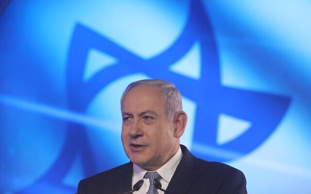 Prime Minister Benjamin Netanyahu speaks at a KKL-JNF hosted a gala dinner at the Waldorf Astoria hotel in Jerusalem on November 05, 2019. (Marc Israel Sellem/POOL)