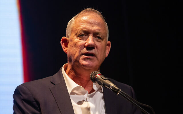 Blue and White party leader Benny Gantz speaks during a memorial ceremony marking 24 years since the assassination of former prime minister Yitzhak Rabin, in Gan Shmuel on November 10, 2019 (Flash90)