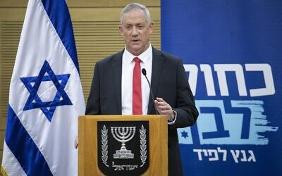 Blue and White party chairman MK Benny Gantz speaks at faction meeting at the Knesset, in Jerusalem, on November 11, 2019. (Hadas Parush/Flash90)