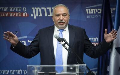 Yisrael Beytenu party chairman MK Avigdor Liberman speaks at faction meeting at the Knesset in Jerusalem, on November 11, 2019. (Hadas Parush/Flash90)