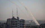 Rockets fired from Gaza towards Israel, followed the targeted killing of Palestinian Islamic Jihad field commander Baha Abu Al-Atta, by an Israeli strike, on November 12, 2019. (Hassan Jedi/Flash90)